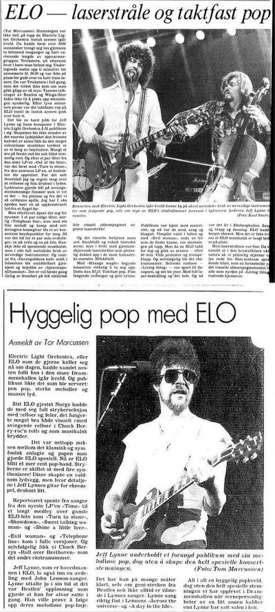 ELO-anmelder i Aftenposten i 1978 og 1982. Begge ved Tor Marcussen.